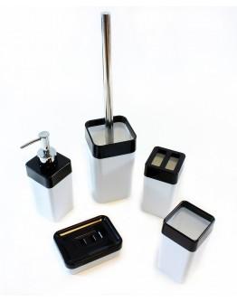 Akcesoria łazienkowe 5 elementów czarno-białe