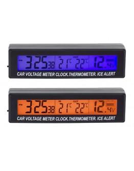 Termometr zegar woltomierz samochodowy LCD 3w1