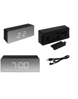 Zegarek z budzikiem i termometrem lustro - czarny