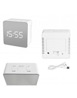 Zegarek z budzikiem i termometrem lustro - biały