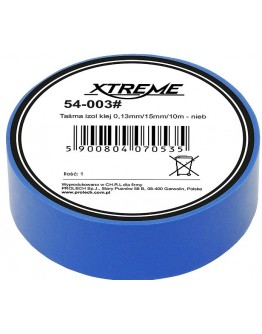 Taśma izol klej 0,13mm/15mm/10m - niebieska