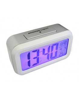 Cyfrowy budzik blue LED srebrny