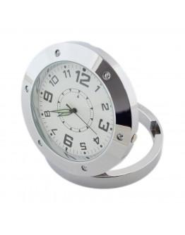 Zegar biurkowy okrągły srebrny z kamerą