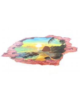 Naklejka na ścianę Zachód Słońca 3D